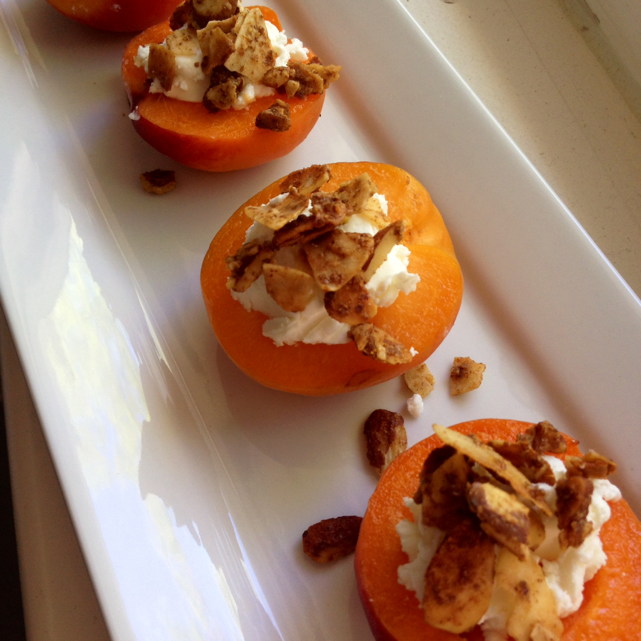 Apricot Canapés with Toasted Coconut & Almonds
