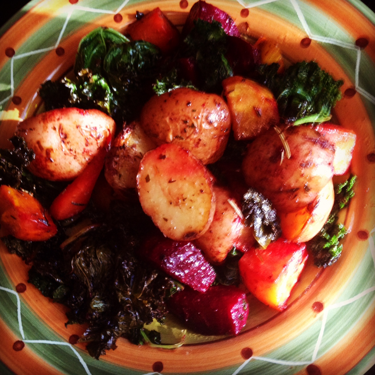 Roasted Root Veggies with Kale