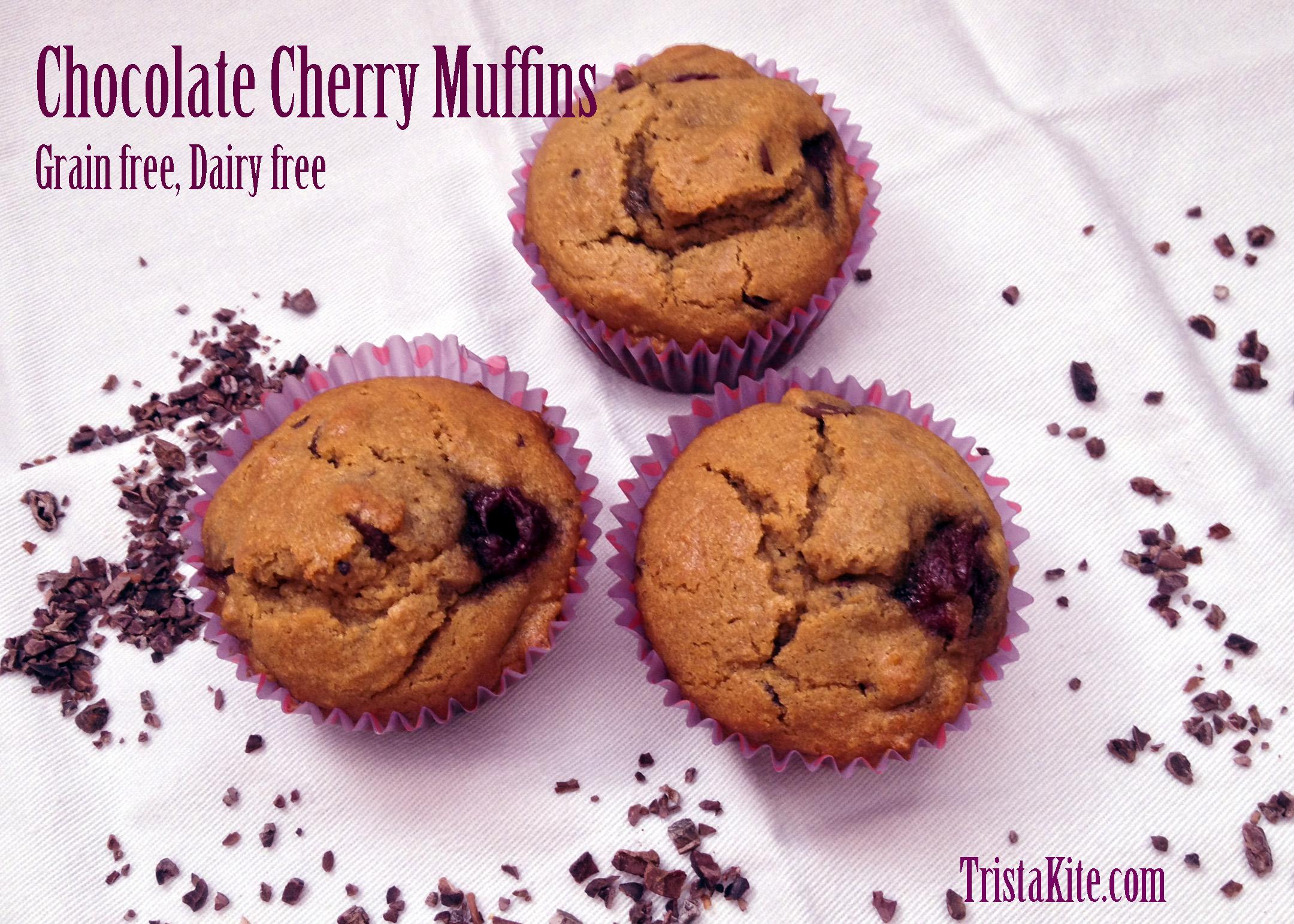 Chocolate Cherry Muffins Grain Free, Dairy Free